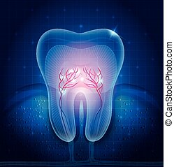 Beautiful transparent tooth illustration, abstract blue background