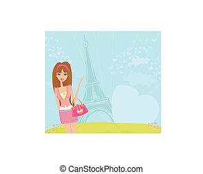 beautiful travel girl in Paris