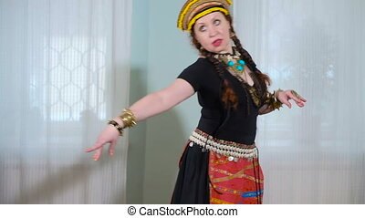 beautiful Tribal Fusion woman. costume of ethnic dancer....