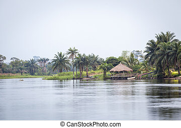 Tropical River Volta in Ghana, West Africa.