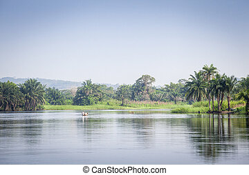 Beautiful tropic scenics - Tropical River Volta in Ghana, ...