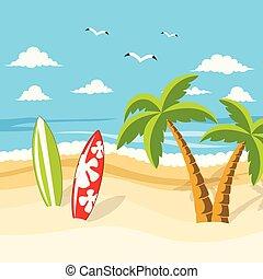 beautiful tropical beach surfboard