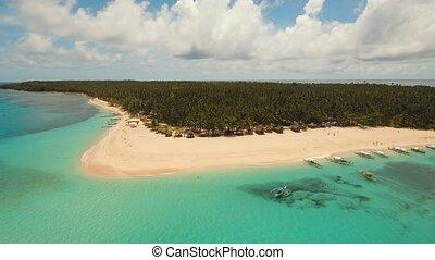 Beautiful tropical island with beach. - aerial footage...