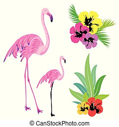 beautiful tropical palm leaves and flamingo, on a white
