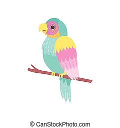 Beautiful Tropical Parrot Sitting on Perch Vector Illustration