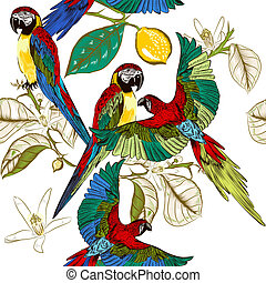 Beautiful tropical pattern with colorful parrots with lemon...