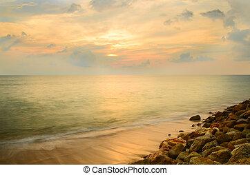 Beautiful Tropical Sand Beach At Twilight