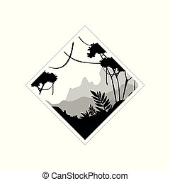 Beautiful tropical scenery, monochrome landscape in geometric shape design vector Illustration on a white background