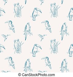 Beautiful tropical seamless pattern with different exotic birds sitting on tree branches and flying on white background. Monochrome vector illustration for wallpaper, fabric print, wrapping paper.