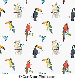 Beautiful tropical seamless pattern with different exotic birds sitting on tree branches and flying on white background. Colorful vector illustration for wallpaper, fabric print, wrapping paper.