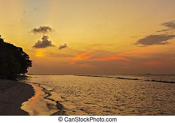 Beautiful tropical sunset on the beach