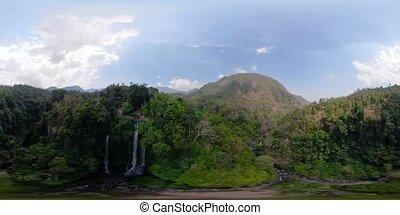 Beautiful tropical waterfall. vr360 Bali,Indonesia.