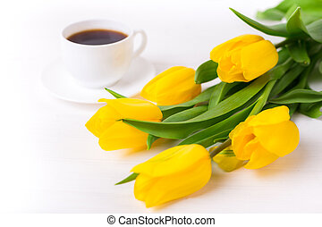 Beautiful tulips on white wooden background. Spring and relax