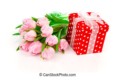 beautiful tulips with red polka-dot gift box. happy mothers...