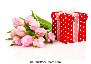 beautiful tulips with red polka-dot gift box. happy mothers day,