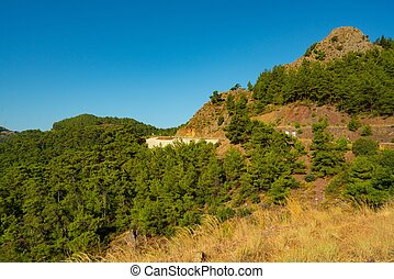 Beautiful Turkish mountain landscape shot on a clear summer day in Marmaris