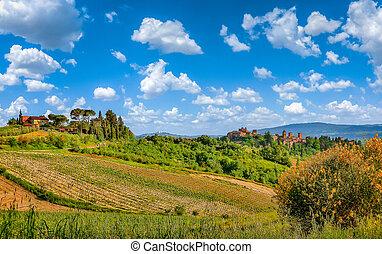 Beautiful tuscan landscape with historic San Gimignano,...
