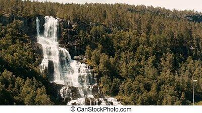 Beautiful Tvindefossen Waterfall, Norway - Cinematic Style