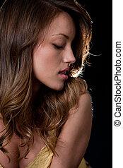 Beautiful twenties hispanic american sensuous woman