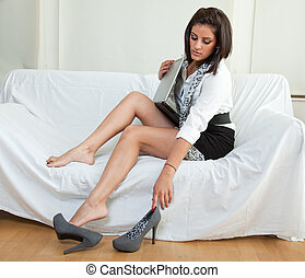 Beautiful twenties hispanic brunette woman