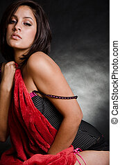 Beautiful twenties hispanic woman wearing sexy sleepwear