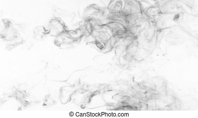 Beautiful twist of black smoke on a white background.