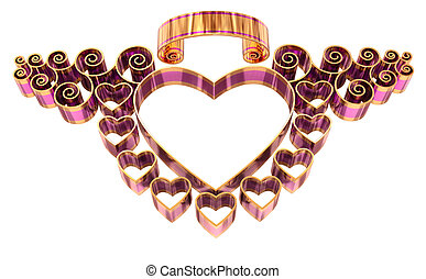 beautiful twisted frame with hearts and curls made of golden...