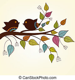 Beautiful two birds on a branch with variegated leaves