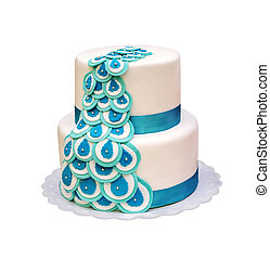 beautiful two-tiered cake with turquoise ribbons. isolated