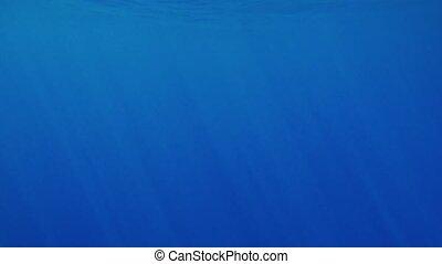 Beautiful under water video of dark blue sea water and sun...