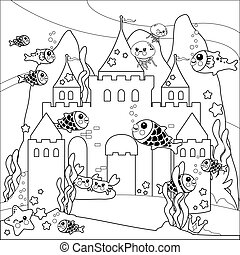 Beautiful underwater castle and sea animals. Vector black and white coloring page