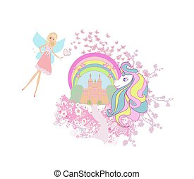 Beautiful unicorn and fairy-tale princess castle