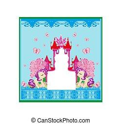 Beautiful unicorn and fairy-tale princess castle frame