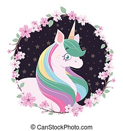 Beautiful unicorn circled with floral wreath frame