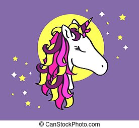 Beautiful unicorn on a background of the moon.