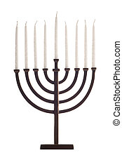 Beautiful unlit hanukkah menorah isolated on white. Super clean white background-- professionally isolated with clean edges and no grey. Carefully spotted and retouched. High resolution images shot with a Canon EOS 1Ds Mark II and a 100 mm Canon macro lens.