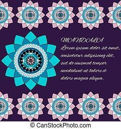 beautiful unusual pattern, blue and pink mandala