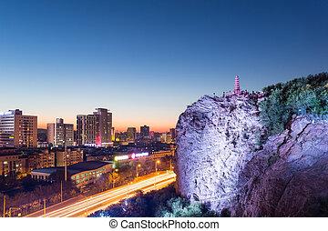 urumqi cityscape in nightfall