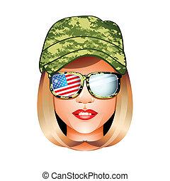 US army girl - Beautiful US army girl head in combat uniform