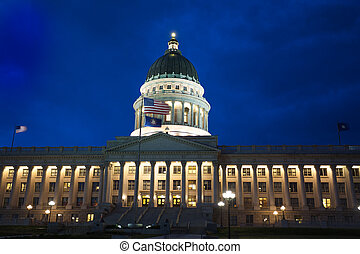 Beautiful Utah Capitol building during night