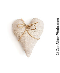 Beautiful valentine heart of fabric with ribbon