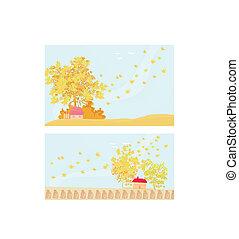 Beautiful vector autumn landscape