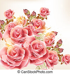 Beautiful vector background in vintage style with rose flowers