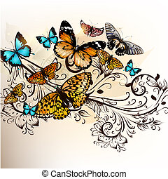 Beautiful vector background with butterflies and ornament -...
