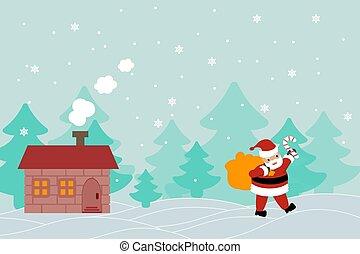 beautiful vector banner greeting card with Santa Claus