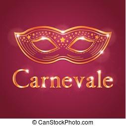 Beautiful vector Carnival illustration with venetian mask....