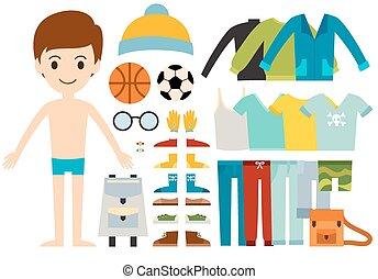 Beautiful vector cartoon fashion boy model constructor look...