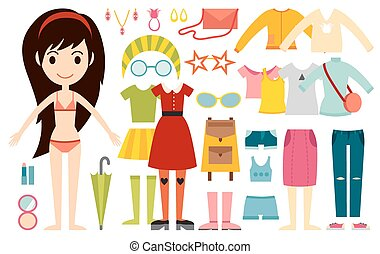 Beautiful vector cartoon fashion girl model constructor look...