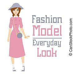 Beautiful vector cartoon fashion girl model constructor look...