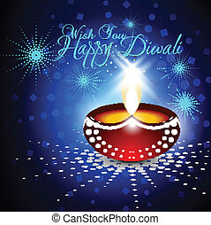 Beautiful vector diwali diya in shiny glowing blue color background with stylish text.